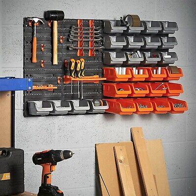 Tool Organizer For Garage Wall Mounted Pegboard Hook Storage Bins Panel Set