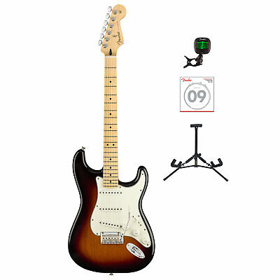 Fender Player Stratocaster Electric Guitar Sunburst with Tuner, Strings & Stand