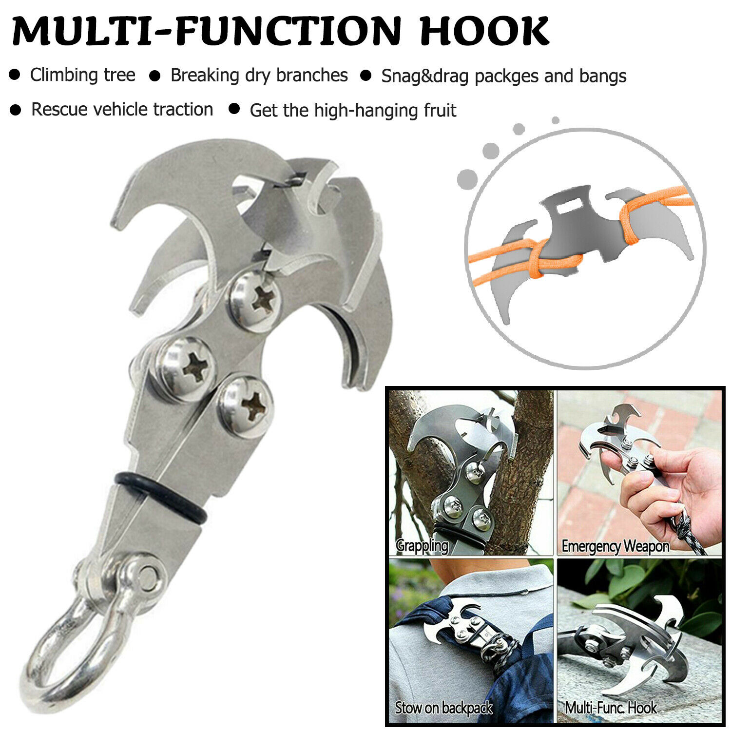 Stainless Steel Survival Gravity Hook Carabiner Climbing Claws Rescue Tool ITHAS