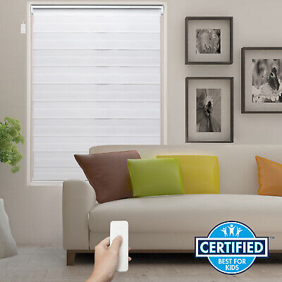 White Motorized Zebra Roller Blind Electric Day and Night Window Blind -