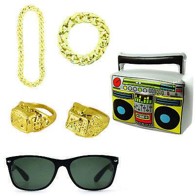 Gangster Rapper Pimp 70s 80s 90s Gold Bling Hip Hop Fancy Dress 6 Piece Set