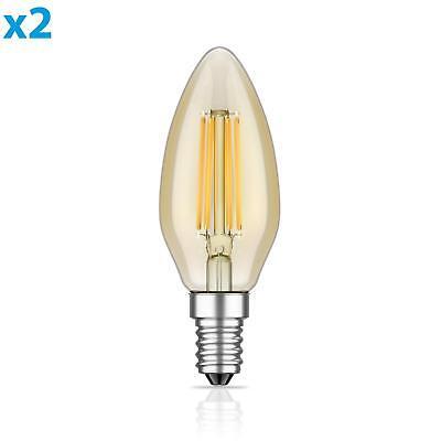 Warm Amber Glas (E14 LED Lampe Glühfaden Vintage amber 4W =35W 380lm extra-warm-weiß auch wetterf)