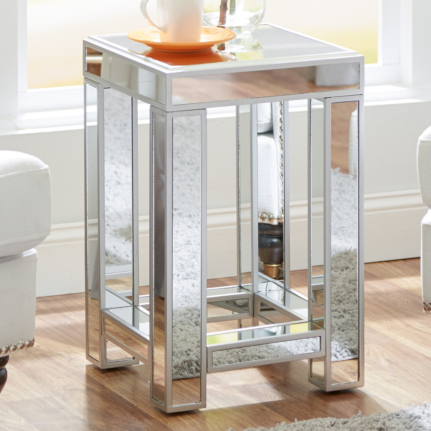 Mirrored Nightstand Mirrored Glass Accent Table Living Room