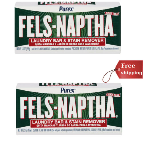 Purex Fels-Naptha Laundry Bar & Stain Remover & Pre-treater, 5.5 Oz Pack of 2