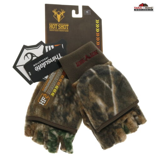 Hot Shot Fleece Pop Top Mitten Gloves Camo Medium ~ New
