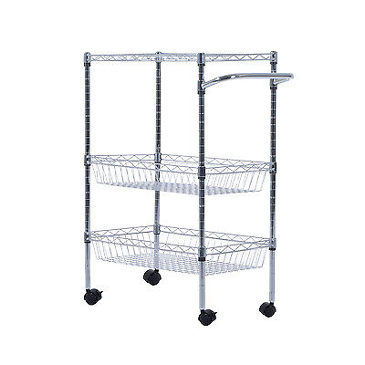 3-Tier Steel Kitchen Trolley Cart Island Wire Rack 2 Basket Shelf Stand Rolling