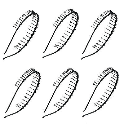 6 pcs Hairband Comb Headband Metal Wire with Teeth