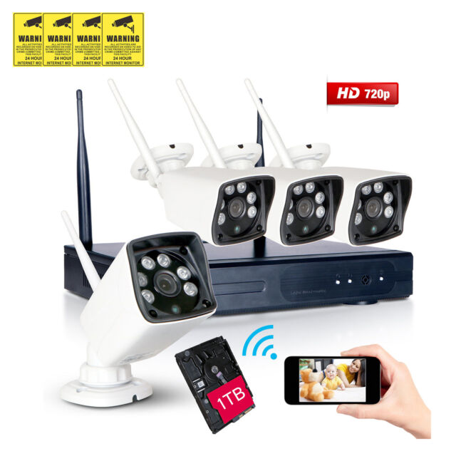 1TB, 720P 4CH Wireless Outdoor NVR Wifi IP Network CCTV Security Camera System