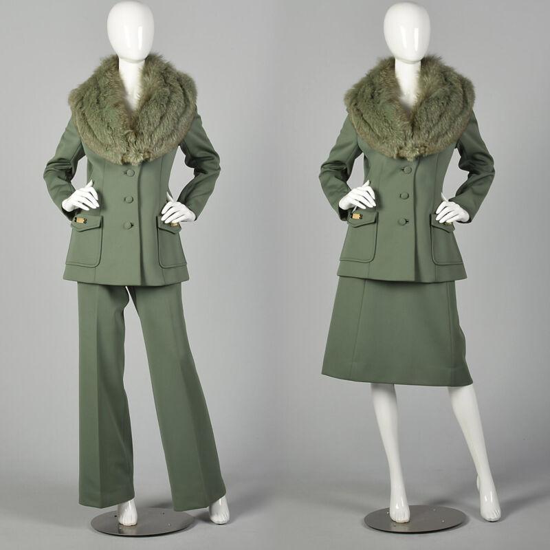 M Lilii Ann Suit Green 1970s Fox Collar Jacket Knit Pant Skirt Set  70s VTG 70s