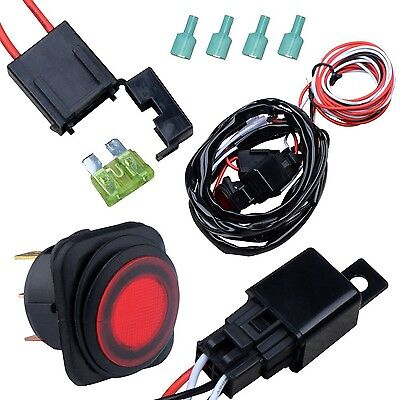 Nilight Off Road ATV/Jeep LED Light Bar Wiring Harness Kit 40 Amp Relay On/of...
