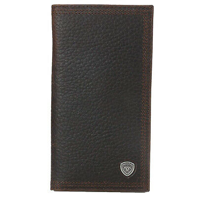 Ariat Performance Work Leather Rodeo Wallet/Checkbook Cover (Dark Rowdy Brown) Rodeo Checkbook Wallet