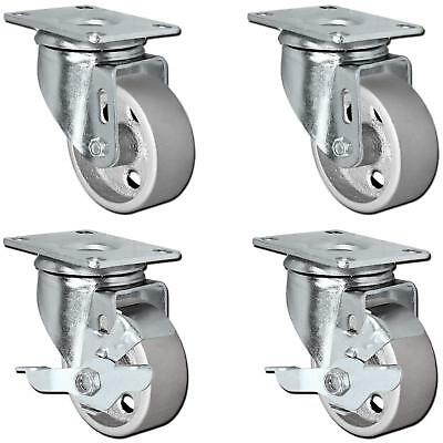 Casterhq - 3 Set Of 4 All Steel Swivel Plate Caster Wheels With Brakes Locking