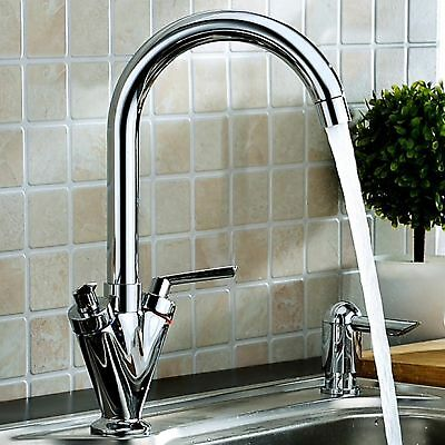 Kitchen Sink Mixer Taps Monobloc Swivel Spout Chrome Brass Twin Lever with Hoses