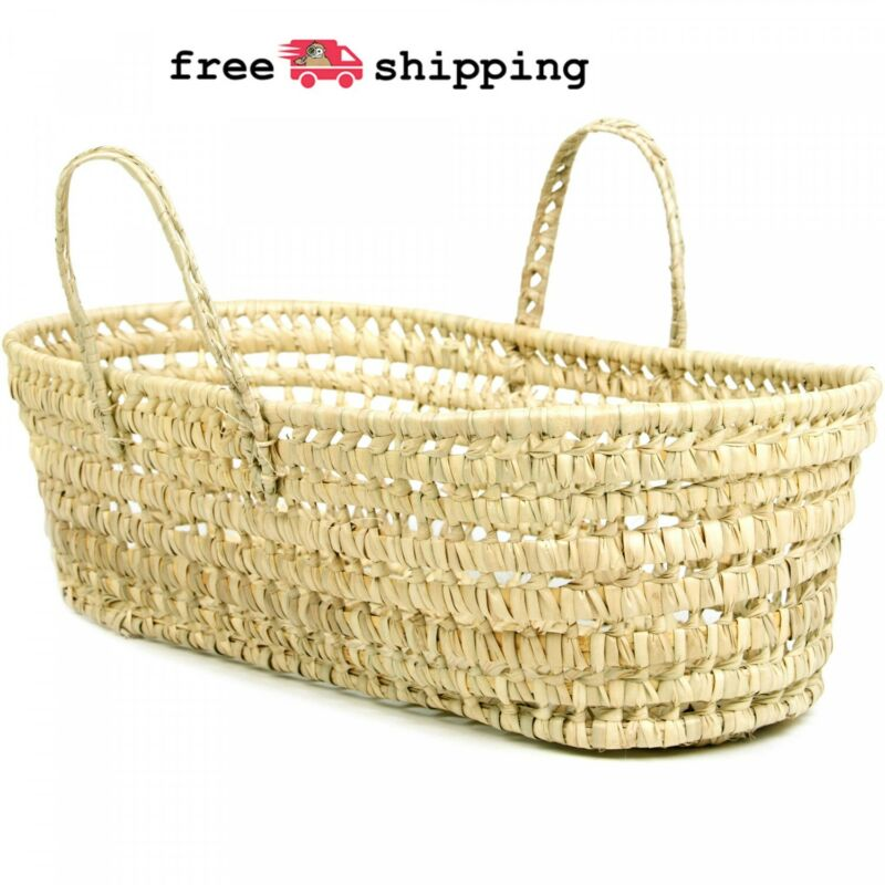 Organic Palm Leaf Moses Basket Baby Bassinets Nursery Storage Decor Natural