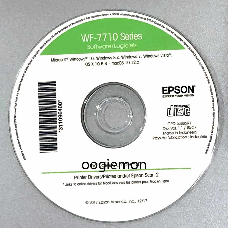 Setup CD ROM for EPSON WorkForce WF-7720 Printer Software for Windows and macOS