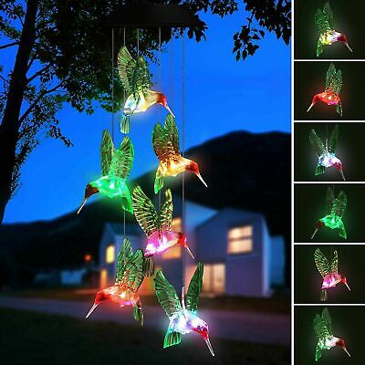 LED Hummingbird Wind Chime Solar Powered Lights Color-Changing Yard Garden Decor