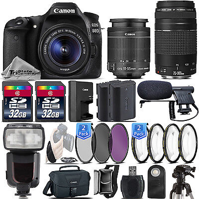 Canon EOS 80D DSLR WiFi NFC 1080p DIGIC 6 Camera + 18-55mm IS STM + 75-300mm III