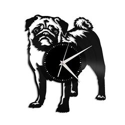 Pug Vinyl Wall Clock Famous Animal Best Gift for Dog Lovers Kids Room Decoration