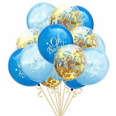 Konfetti Luftballon Set für Baby Shower Party Junge 15 Deko Ballons in Blau Gold