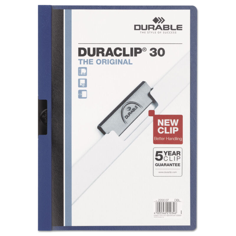 Durable Vinyl DuraClip Report Cover Letter Holds 30 Pages Clear/Dark Blue 220307