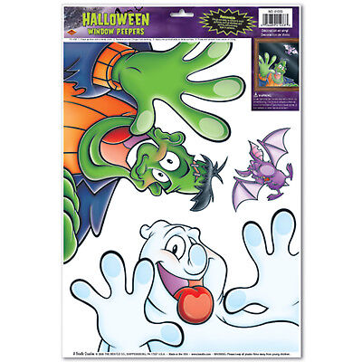 HALLOWEEN Party Decoration CUTE FUNNY Window PEEPERS Cling FRANKENSTEIN GHOST