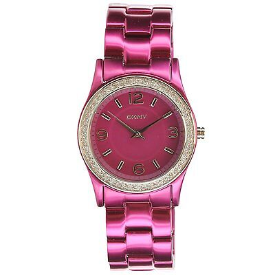 New Dkny Fuchsia Aluminum Band Crystals Women Dress Watch 32Mm Ny8309  135