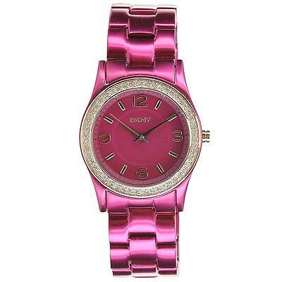 New Dkny Fuchsia Aluminum Band Crystals Women Dress Watch 32Mm Ny8309  135