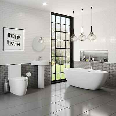 Bathroom Suite Freestanding Curved Bath Close Coupled Toilet Basin Full Pedestal