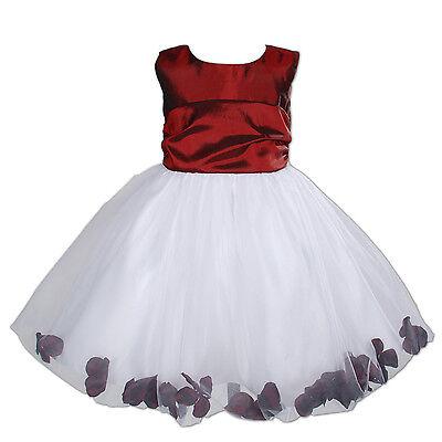 Blumen-mädchen-kleider In Pink (NEU Blumenmädchen Brautjungfer Pagent Kleid in burgunderrot, Pink 9m - 4 Jahre)