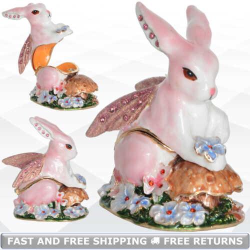 Fairy Bunny Rabbit Jewelry Hinged Trinket Box Enamel Bejeweled Crystals Ornament