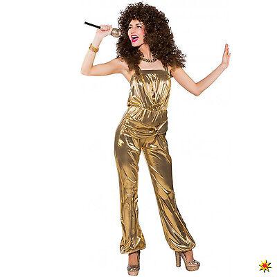 Damen Kostüm Party Jumpsuit gold Gr. 34-40 Retro 80er 90er Mottoparty Fasching - Retro Jumpsuit Kostüm