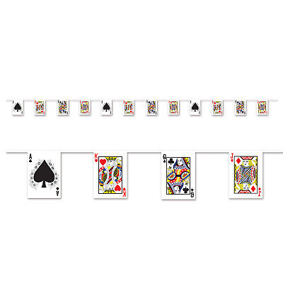 CASINO Vegas Alice in Wonderland Party Decoration PLAYING CARD Pennant BANNER