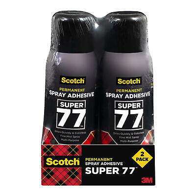 2 Cans- Scotch 3m Super 77 Spray Adhesive Glue 8 Oz Dries Quickly Colorless