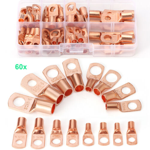 60pcs Battery Bare Copper Ring Lug Terminals Connector Wire Gauge SC6-25 Kit