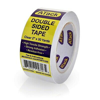 Atack Clear Double-sided Tape 2 Inches X 30 Yards