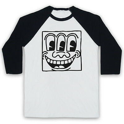HAPPY FACE STREET ART KEITH HARING UNOFFICIAL ARTIST 3/4 SLEEVE BASEBALL TEE - Happy Face Tee