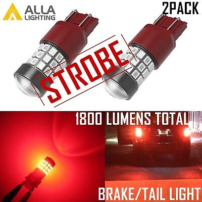 Alla Lighting LED 7443 Red Strobe Brake Light Bulb,Blinking Flash Legal Alert