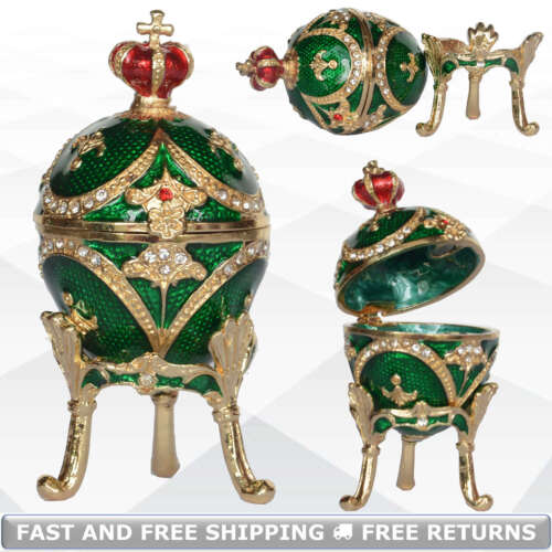 Faberge Egg Shaped Jewelry Trinket Box Hinged Lid Bejeweled Crystals With Stand