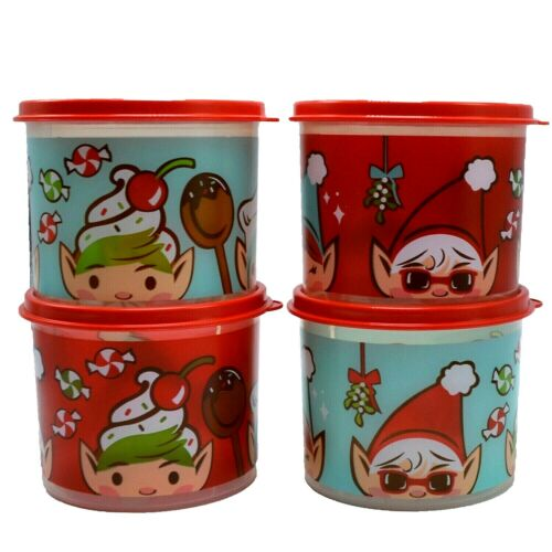 Tupperware Mini Elf Canisters 2 Cup Christmas Tupper Elves Set of 4