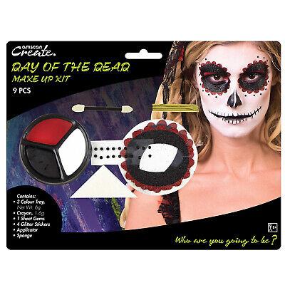 Halloween Make Skelett (Buchse Tag der Toten Sugar Totenkopf Skelett Make-Up Gesichtsfarbe Set)