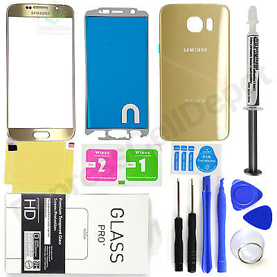 Samsung Galaxy S6 G920 -OEM Gold- Face & Back Glass Lens Screen Replacement Kit