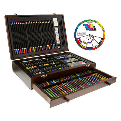 143-Piece Art Drawing Set Artist Sketch Kit Paint Pencil Pastel Wood Case Box - Art Boxes