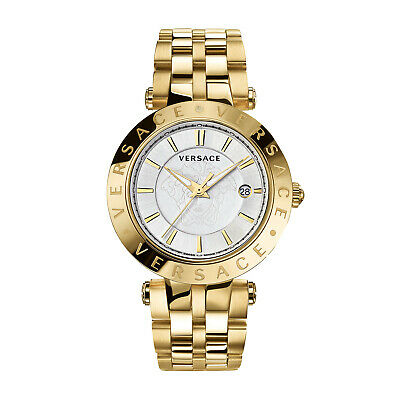Versace NEW VQP050015 V-Race 42 mm 3 Hands Analog Display Swiss Quartz Gold Watc