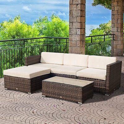 Outsunny 5PC Patio Rattan Sofa Set Outdoor Garden Wicker Sectional Furniture