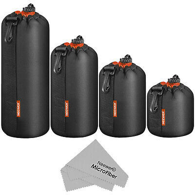 Neewer 4 Pack Camera Lens Pouch Thick Protective Bag Case for Sony Canon Nikon