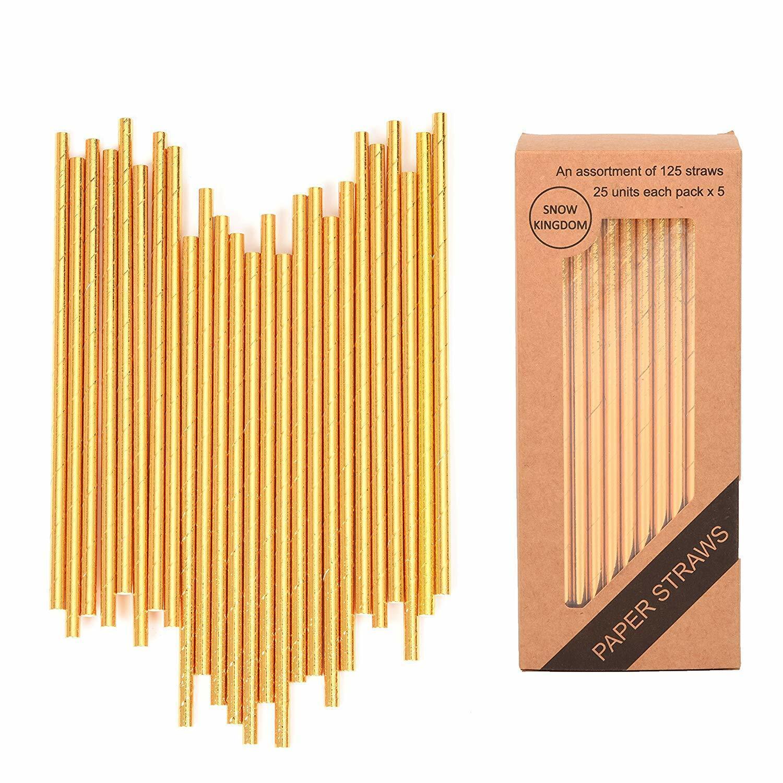 125 PCS Gold Paper Straws Metallic Drinking Decoration Eco F