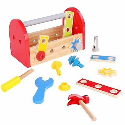 Wooden Tool Box Toy for Kids Construction Pretend Play Set Build Repair Gift](Tool Set For Kids)