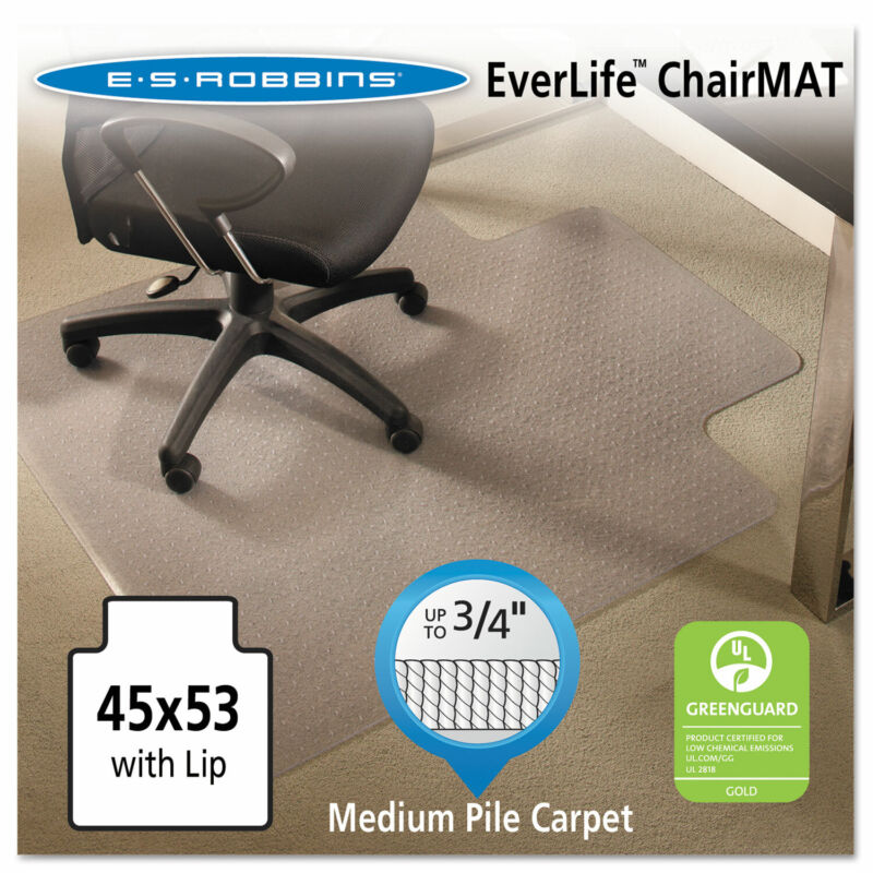 Es Robbins EverLife Chair Mats For Medium Pile Carpet With Lip 45 x 53 Clear
