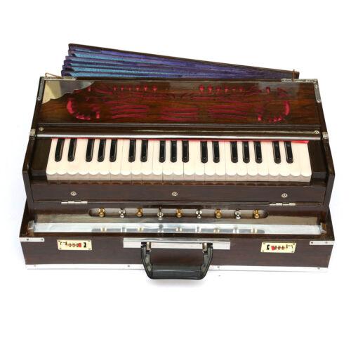 Indian Calcutta Portable Harmonium Standard 3 1/2 Octave Double 2 Reed Set