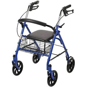 Rollator Walker With Seat Wheeled Folding Disabled Handicap Aid Seat Transport